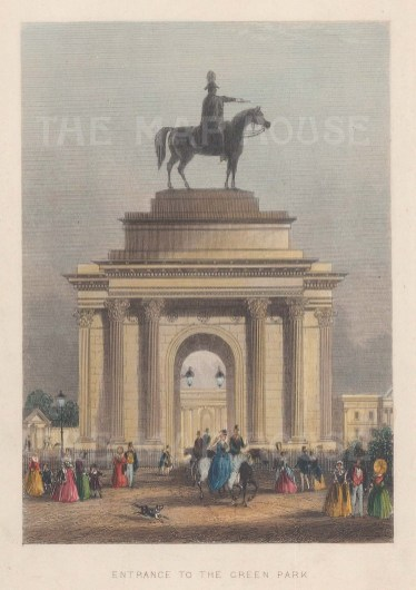 Green Park Entrance with a statue of the Duke of Wellington. Now Wellington Arch with a statue of Nike and a quadriga.