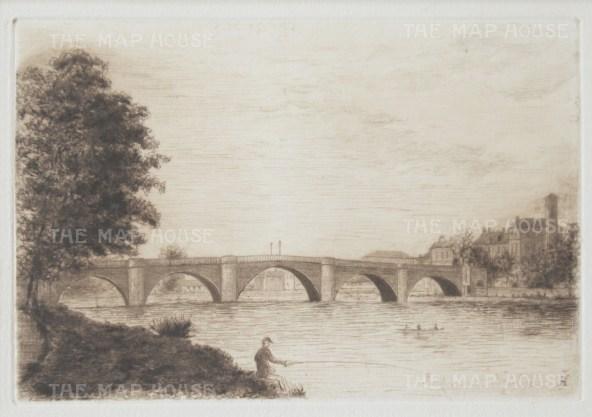 "Herring: Richmond Bridge. 1884. An original antique etching. 5"" x 4"". [LDNp9223]"