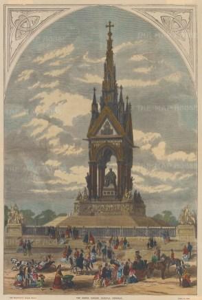 Albert Memorial. Opened in 1872, the statue of Prince Albert was not put in situ until 1875.