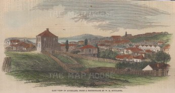 """Illustrated London News: Auckland. 1860. A hand coloured original antique wood engraving. 8"""" x 4"""". [NWZp295]"""
