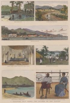 "Graphic Magazine: Fiji & Samoa Islands. 1885. A hand coloured original antique wood engraving. 9"" x 14"". [PLYp221]"