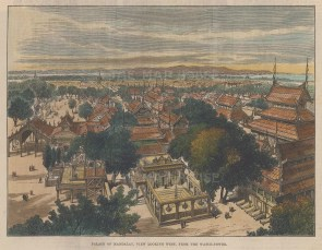 Mandalay from the palace watchtower looking West.