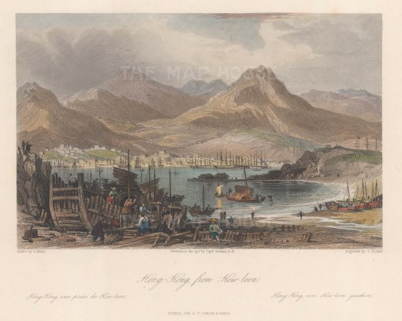 Scarce. Panorama of Hong Kong Harbour from Kowloon.