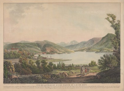 Zug: View of the city and part of the lake from below the Chateau de St Andre with Mount Rigi and the Bernese Alps in the distance. After Pierre Biermann.