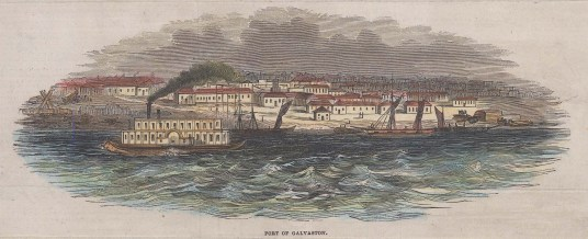 Galvaston Island: Panoramic view of Galvaston port from the channel.