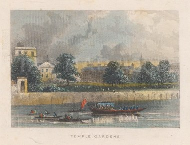 "Tallis: Temple Gardens. 1851. A hand coloured original antique steel engraving. 4"" x 3"". [LDNp10904]"
