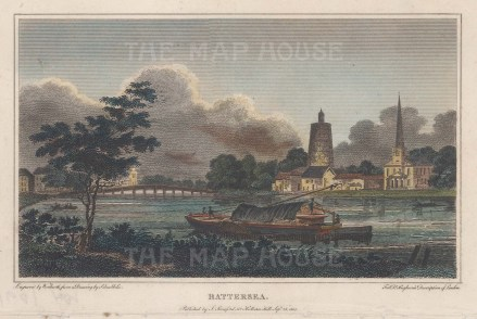 Battersea: View towards St Mary's Church and the old wooden Battersea Bridge.
