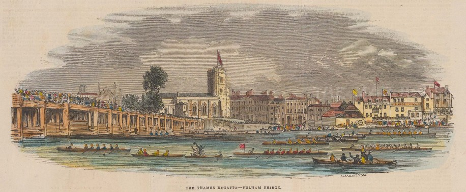 Putney Bridge: View from Fulham of the Thames Regatta, All Saints and the Putney shore.