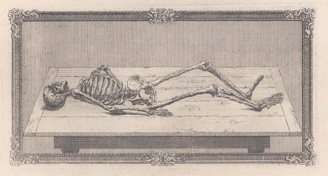 Skeleton: Laying on a table with ornate border.