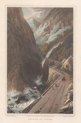 Alps: Gondo Gorge. View of the bridge on the Simplon Road.