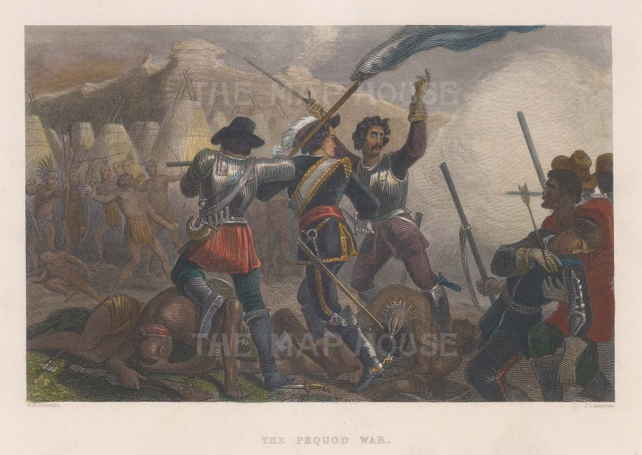 The Pequod War: View of a squirmish of the 1636-1638 conflict between the Massachusetts Bay, Plymouth colonies, and Narragansett and Mohegan tribes against the Pequot tribe.