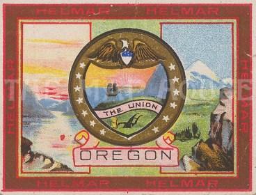 "Helmar Cigarettes: Oregon. c1907. An original antique chromolithograph. 3"" x 2"". [USAp4873]"