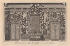 Baroque Wall Design: Third side of the Parade room with pastoral frescos and ornate mirror.