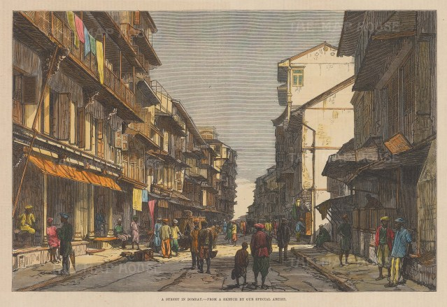 "Illustrated London News: Mumbai. 1875. A hand coloured original antique wood engraving. 9"" x 12"". [INDp1602]"