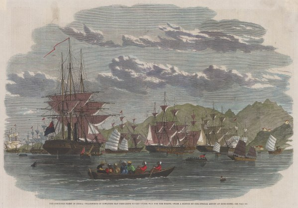 Kowloon: View of the harbour with the Combined British Fleet in preparation, Second Anglo-Chinese (Opium) War.