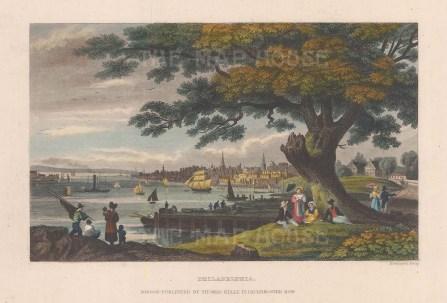 "Kelly: Philadelphia, Pennsylvania. c1836. A hand coloured original antique steel engraving. 8"" x 6"". [USAp5061]"