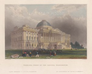 Capitol Building: View of the principal east front of the Capitol with the earlier dome.