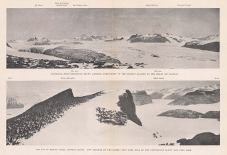 Double Panorama: Dscovery Bluff looking Northwest. Mount Suess looking South. Terra Nova Expedition 1910-13.