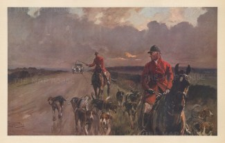 Fox Hunting: The King's Highway. Atmospheric scene of huntsmen leading weary hounds home with a motor car on the approach.