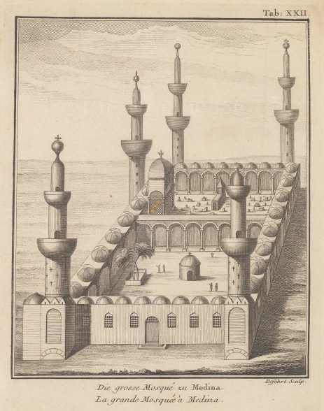 Medina: View of the mosque. From the first scientific expedition to Arabia of which Niebuhr was the only survivor.