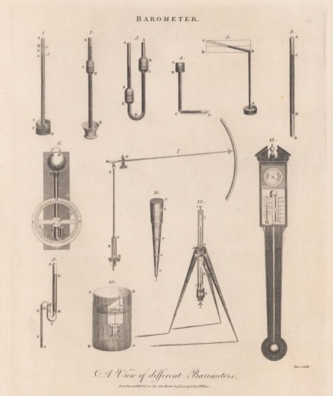 Barometers: 1. Torricelli 2,3 Huygens 4 Barnoulli's Horizontal 5. Morland Diagonal, 6 Hook's Wheel 7 Steelyard 8 Amonton's Pendant 9 Rowning's Compound 10 Casswell's Barascope 11, 12 Ramsden's Portable 13 Thermometer and Hygrometer.