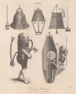 Diving Bells:1. Halley's, 2. Triewald's and 3. Spalding's bells . 4. Klingert's Armour and 5. Air cylinder.