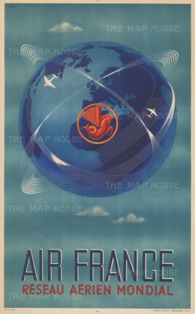 Reseau Aerien Mondial: Air France poster advertising the airline's global services with the iconic hippocamp logo emblazoned in red. By the artist Plaquet.