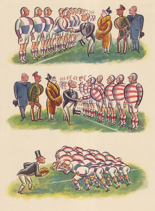 Cartoon: Lord meeting the players and tossing the first ball.
