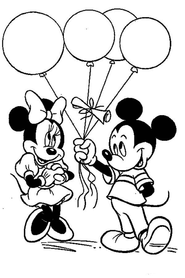 Mickey Kissing Coloring And Pages Mouse Minnie