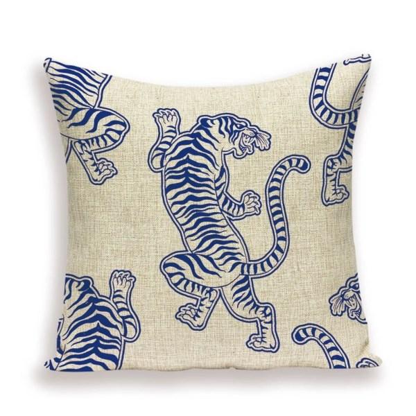 Blue tiger cushion