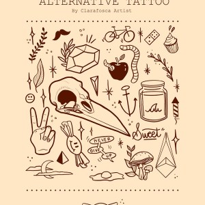 Alternative tattoo beige print
