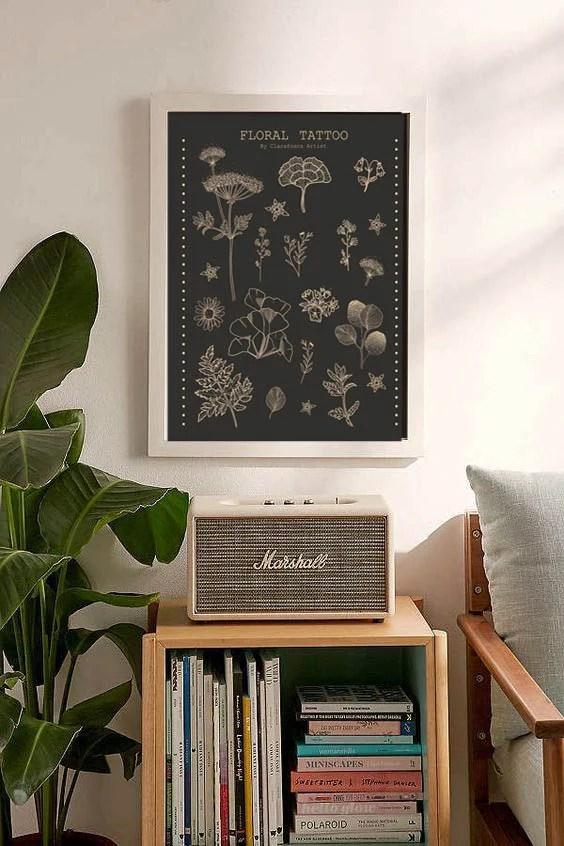 Floral Tattoo black Print