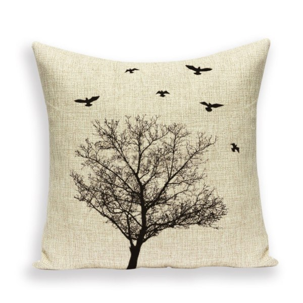 Tree birds cushion
