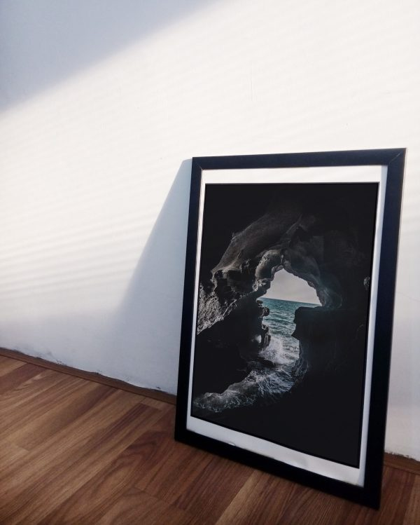 Ocean cave photography on canvas