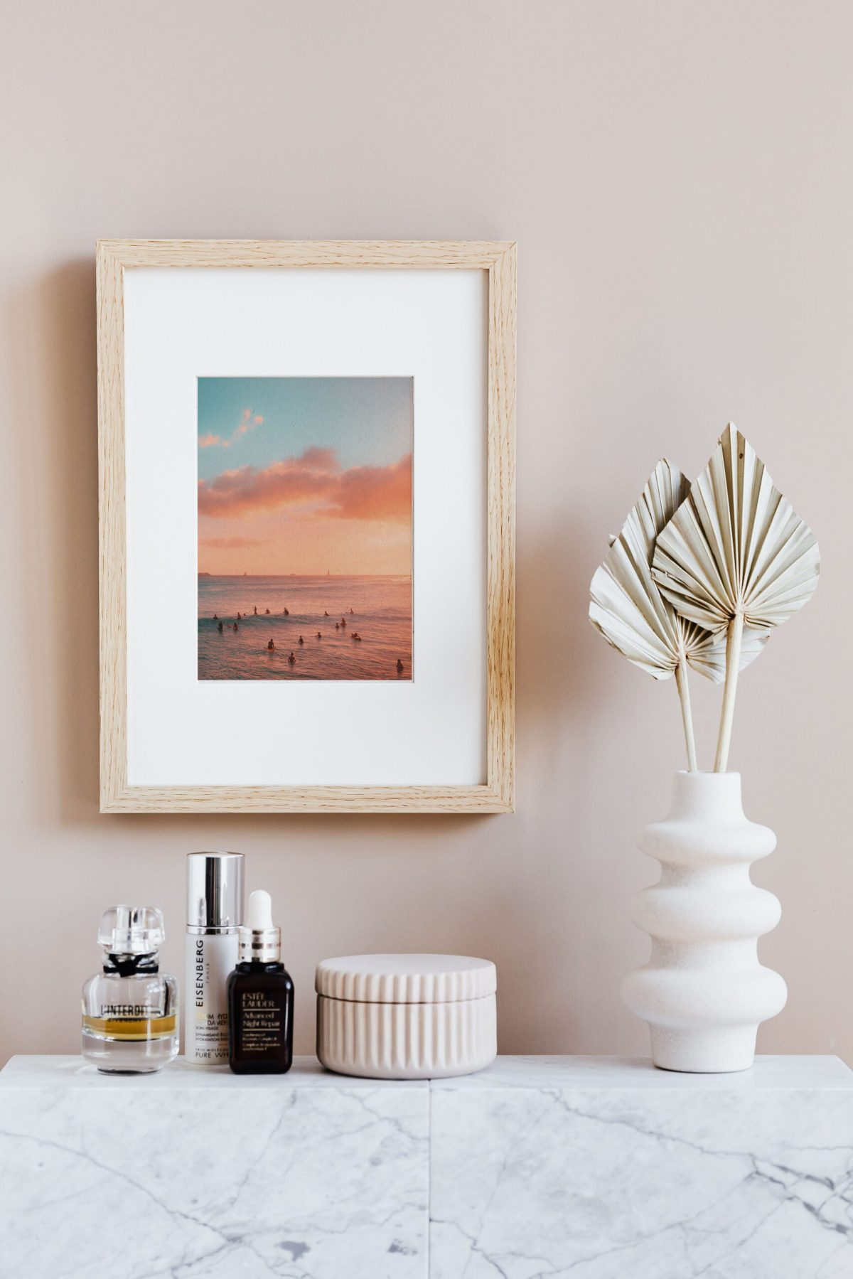 Pink sunset beach surf photography on canvas