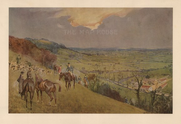 """Lionel Edwards, 'The Duke of Beaufort's. Kill above the Sodbury Vale', 1927. An original chromo-lithograph. 8"""" x 12"""". £POA."""
