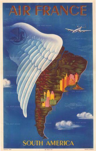 "POSTERp279 - Lucien Boucher: Air France, South America. 1939. (12"" x 19"") Framed."