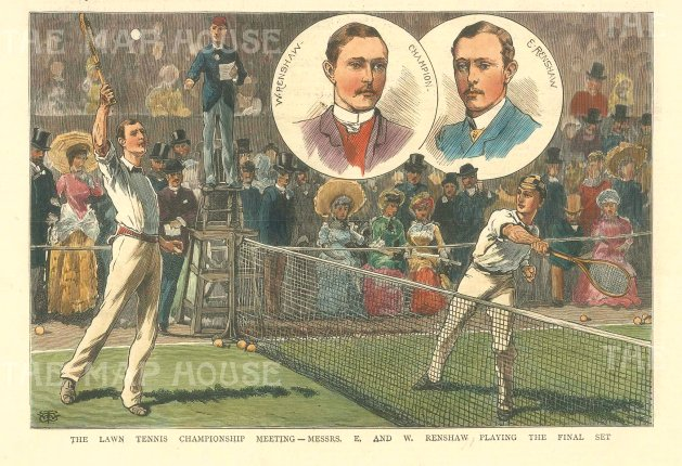 The Illustrated London News: Wimbledon Championships 1882. Hand coloured antique wood engraving, 7 x 5 inches. [SPORTSp3501]