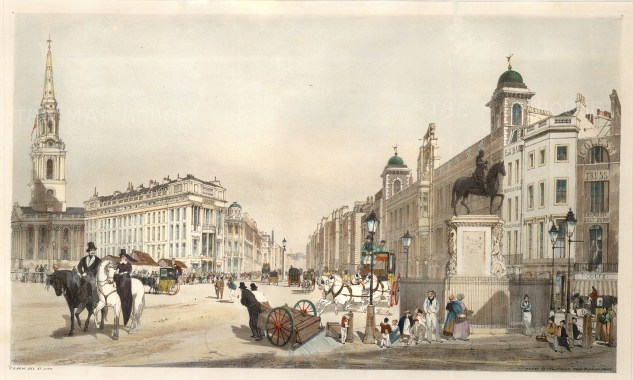"""Thomas Shotter Boys, 'Entry to the Strand from Charing Cross', 1842. An original colour lithograph. 14"""" x 18"""". £POA."""