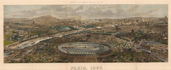 The Illustrated London News: Paris. 1867. A hand-coloured original antique wood-engraving. 47 x 18 inches. [FRp1604]