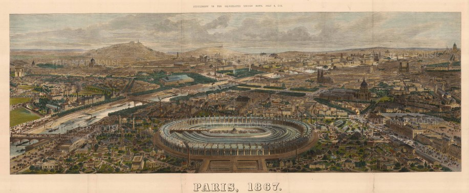 """The Illustrated London News, 'Paris, 1867', 1867. A hand-coloured original wood-engraving. 18"""" x 47"""". £POA."""
