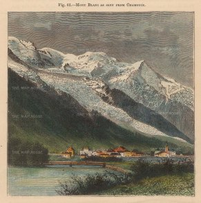 Reclus: Mont Blanc from Chamonix. 1894. A hand-coloured original antique wood-engraving. 4 x 5 inches. [FRp1619]