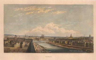 Kelly: Paris. Circa 1844. A hand-coloured original antique steel-engraving. 7 x 5 inches. [FRp1635]