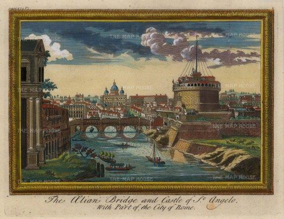 Moll: Rome. Hand-coloured original copper engraving, 1745. 10 x 8 inches. [ITp2141]