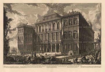 Piranessi: Palazzo Barberini, Rome. Etching, 1749. 28 x 18 inches. [ITp2254]