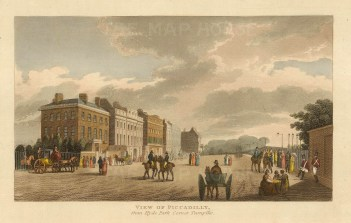 "John Papworth, 'View of Piccadilly from Hyde Park Corner Turnpike', 1816. 6"" x 8"". £POA."