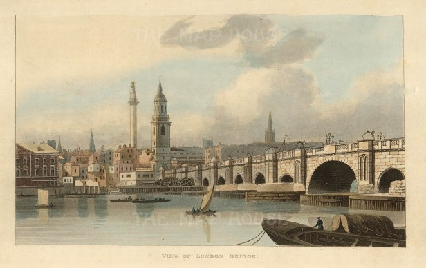 "John Papworth, 'View of London Bridge', 1816. An original colour aquatint. 8"" x 6"". £POA."