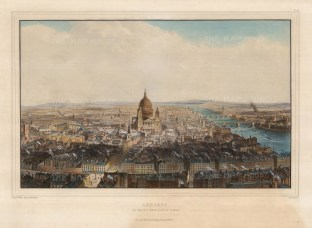 "Thomas Allom, 'Bird's-eye View from St. Bride's Steeple', 1846. A hand-coloured original lithograph. 18"" x 24""."