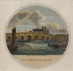 "Charles Taylor, 'Westminster Bridge', 1796. An hand-coloured original copper-engraving. 6"" x 6"". £POA"