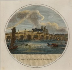"""Charles Taylor, 'Westminster Bridge', 1796. An hand-coloured original copper-engraving. 6"""" x 6"""". £POA"""